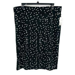 Alfani Black And White Polka Dot Midi Skirt